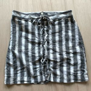 Madewell Stripe Linen Lace Up Skirt Womens Size 2